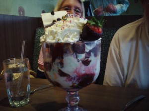 This giant sundae was one of the many, many things we devoured. That's my mom behind it wondering if we have big enough spoons.